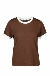 Womens Ringer T-Shirt - brown - 12, Brown