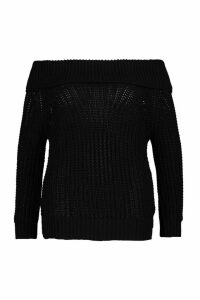 Womens Plus Bardot Soft Knit Oversized Jumper - black - 24, Black