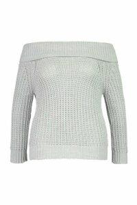 Womens Plus Bardot Soft Knit Oversized Jumper - grey - 20, Grey