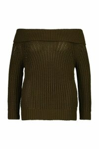 Womens Plus Bardot Soft Knit Oversized Jumper - green - 18, Green
