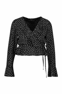 Womens Petite Polka Dot Ruffle Wrap Top - black - 12, Black
