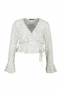 Womens Petite Polka Dot Ruffle Wrap Top - white - 12, White