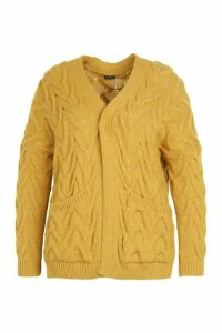 Womens Plus Cable Knit Longline Cardigan - yellow - 24/26, Yellow
