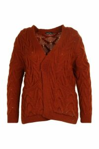 Womens Plus Cable Knit Longline Cardigan - brown - 24/26, Brown