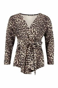 Leopard Print Wrap Blouse - brown - 10, Brown