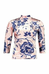 Womens Luxury Printed Velour roll/polo neck Top - pink - 14, Pink