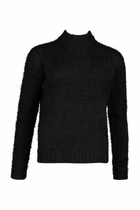 Womens Feather Yarn roll/polo neck Jumper - black - M, Black