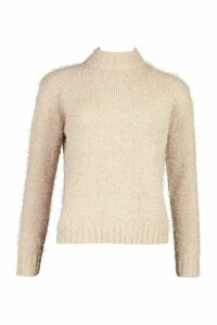 Womens Feather Yarn roll/polo neck Jumper - beige - XS, Beige