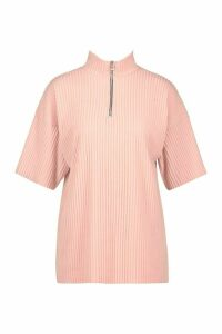Womens Brushed Rib Zip Funnel Neck Top - pink - 12, Pink