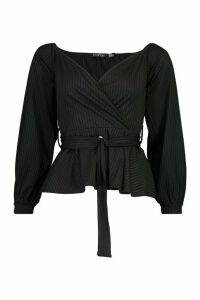 Womens Jumbo Rib Wrap Detail Top - black - 10, Black