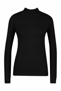 Womens Roll Neck Knitted Jumper - black - S, Black
