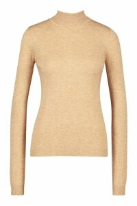 Womens Roll Neck Knitted Jumper - beige - XS, Beige