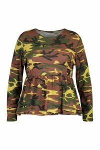 Womens Plus Camo Print Longsleeve Smock Top - green - 22, Green