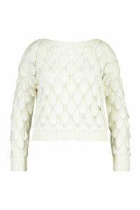Womens Plus Textured Bobble Knitted Jumper - white - 16, White
