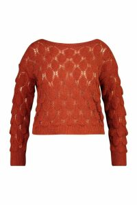 Womens Plus Textured Bobble Knitted Jumper - orange - 20, Orange