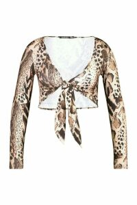 Womens Leopard Print Tie Front Crop Top - brown - 14, Brown