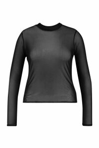 Womens Plus Mesh roll/polo neck Top - black - 24, Black