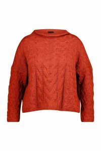 Womens Plus High Neck Cable Jumper - orange - 24/26, Orange