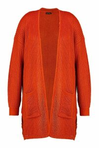 Womens Plus Fisherman Rib Knit Edge To Edge Cardigan - orange - 20, Orange