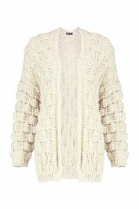 Womens Bobble Knit Cardigan - beige - M, Beige