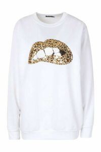 Womens Sequin Lip Sweatshirt - white - XL, White