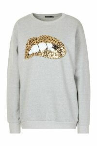 Womens Sequin Lip Sweatshirt - grey - XL, Grey