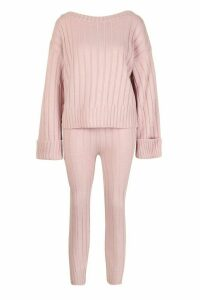 Womens Bardot Jumper & Legging Lounge Set - pink - M/L, Pink