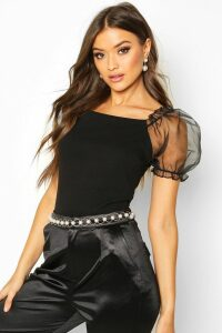 Womens Crepe Square Neck Organza Sleeve Top - Black - 12, Black