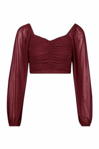 Womens Mesh Long Sleeve Red Crop Top - 16, Red