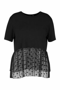 Womens Plus Contrast Polka Dot Mesh Smock Top - black - 24, Black