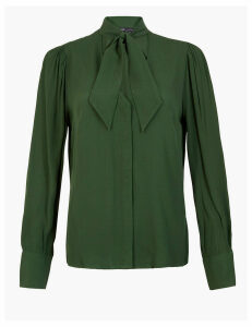 M&S Collection Tie Neck Blouse