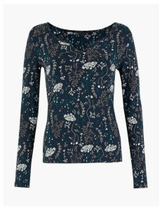 M&S Collection Floral Notch Neck Fitted Top