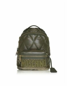 Moschino Green Quilted Nylon Signature Backpack