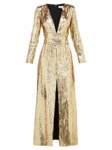 Borgo De Nor - Gisele V-neck Sequinned Maxi Dress - Womens - Gold