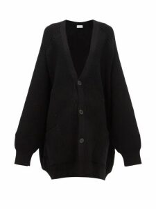 Raey - Oversized Chunky Knit Wool Cardigan - Womens - Black