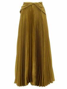 Peter Pilotto - Draped-waist Pleated Satin Maxi Skirt - Womens - Gold
