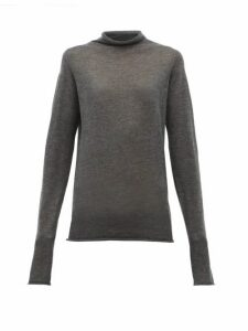 Raey - Sheer Raw Edge Funnel Neck Cashmere Sweater - Womens - Charcoal