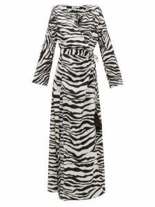 The Attico - Zebra-print Feather-embellished Wrap Dress - Womens - Black White