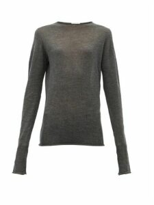 Raey - Sheer Raw-edge Crew-neck Cashmere Sweater - Womens - Charcoal