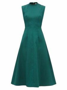Emilia Wickstead - Elisabeth A-line Cloqué Midi Dress - Womens - Dark Green