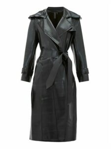 Norma Kamali - Waist-tie Coated-jersey Trench Coat - Womens - Black