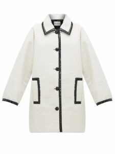 Stand Studio - Jacey Pvc-trim Faux-shearling Coat - Womens - Black White