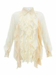 Burberry - Ruffled Pleated Silk-crepe Blouse - Womens - Cream