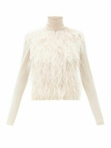 Giambattista Valli - Feather Trim Roll Neck Cashmere Blend Sweater - Womens - Light Pink