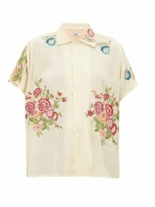Bode - Needle-point Floral Embroidered Satin Shirt - Womens - Ivory