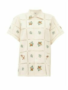 Bode - Needle-point Floral-embroidered Cotton Shirt - Womens - Beige