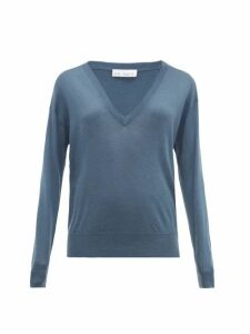 Raey - Sheer V-neck Cashmere Sweater - Womens - Dark Blue