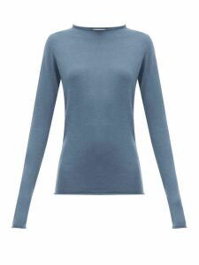 Raey - Sheer Raw-edge Crew-neck Cashmere Sweater - Womens - Blue