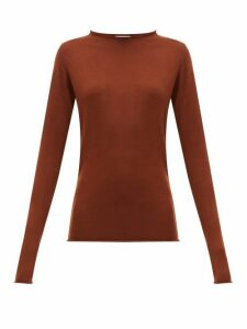 Raey - Sheer Raw-edge Crew-neck Cashmere Sweater - Womens - Dark Orange