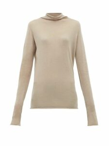 Raey - Sheer Raw Edge Funnel Neck Cashmere Sweater - Womens - Grey